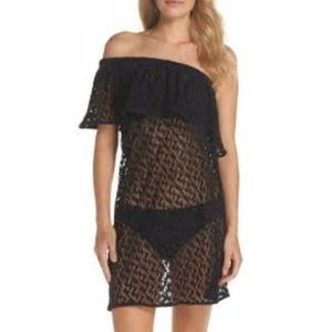NWOT Milly Cabana Black Lace One Shoulder Cover Up